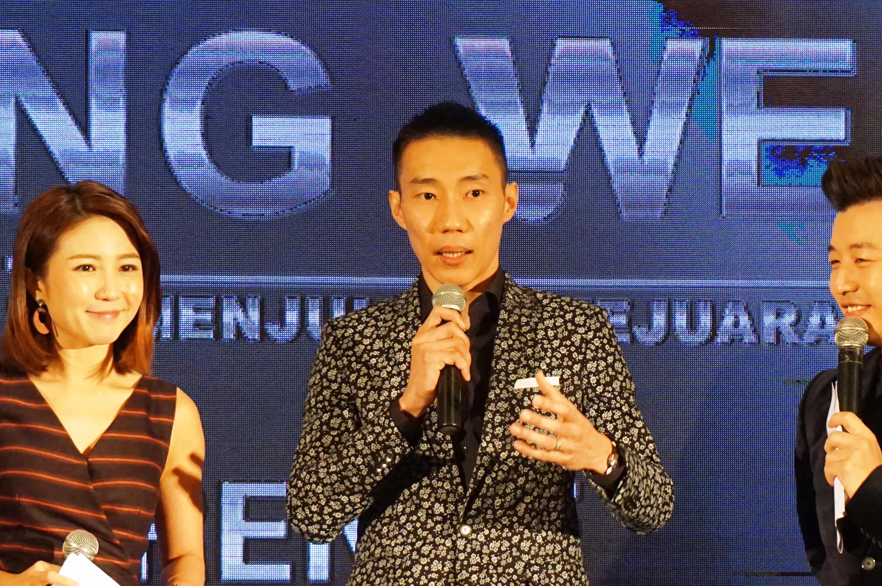 李宗伟在发布会上笑称拍电影比打球还累。-杨琇媖摄-